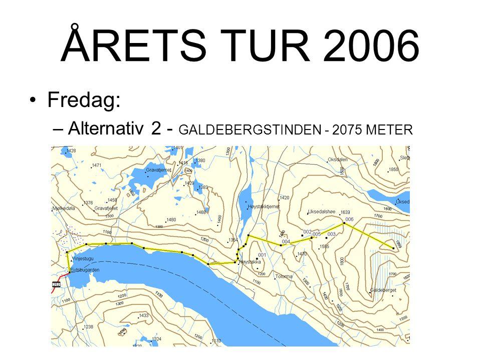 ÅRETS TUR 2006 Fredag: –Alternativ 2 - GALDEBERGSTINDEN - 2075 METER Ikke spesielt karakteristisk fjell ved Bygdins nordbredde.