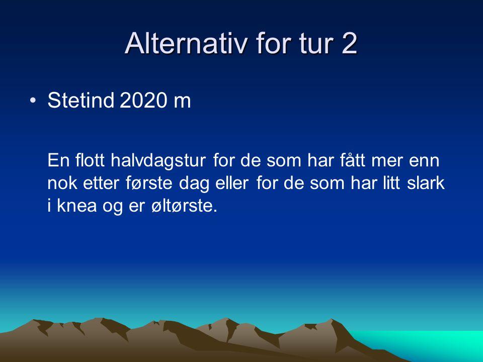 Forslag til tur for dag 2 Fra Leirvassbu m/brefører Storebjørn 2222 m Smørstabbreen Langs Kalven Til Krossbu med biltransport tilbake til Leirvassbu Beskrives som en opplevelse .