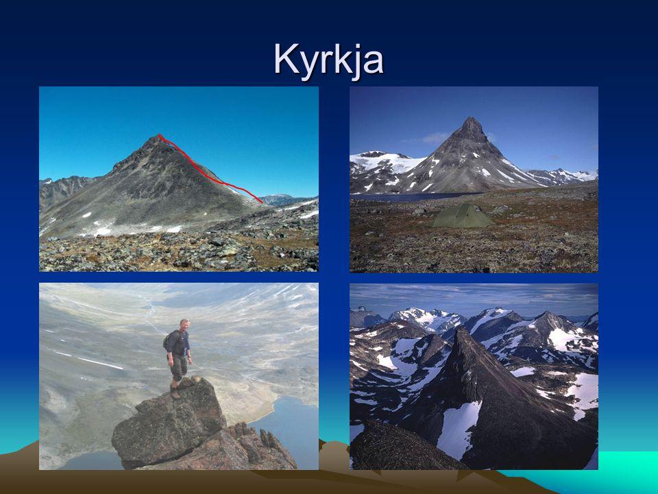 Aktuelle topper KYRKJA 2032 m Primærfaktor 280 Høyderangering 255 Luftig, men ikke klatring Kombineres med Visbretind