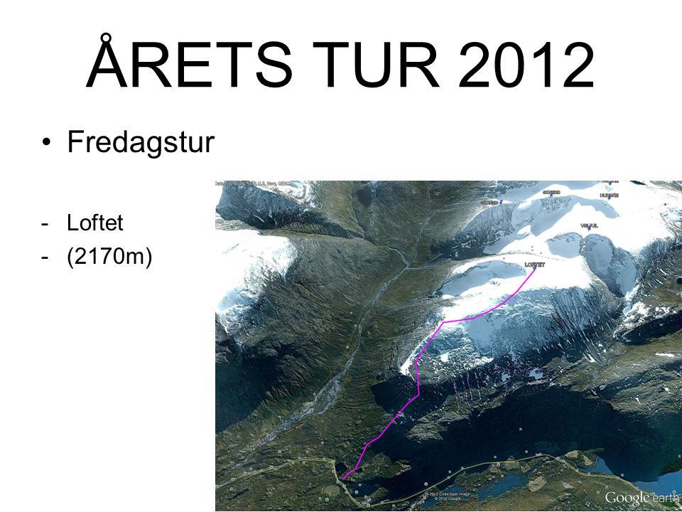 ÅRETS TUR 2012 Fredagstur -Loftet (2170m) -Ca 10km t/r -4-5t