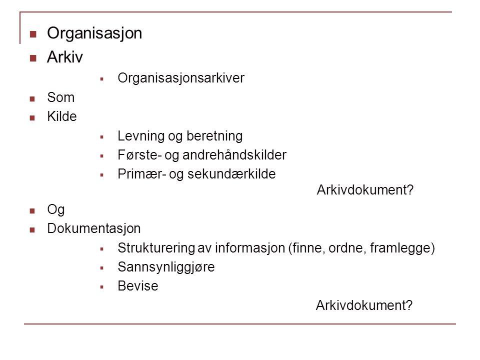 Organisasjon Arkiv  Organisasjonsarkiver Som Kilde  Levning og beretning  Første- og andrehåndskilder  Primær- og sekundærkilde Arkivdokument? Og