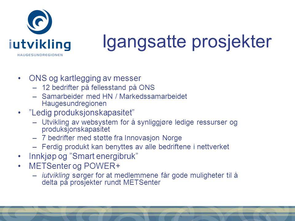 """ONS og kartlegging av messer –12 bedrifter på fellesstand på ONS –Samarbeider med HN / Markedssamarbeidet Haugesundregionen """"Ledig produksjonskapasite"""