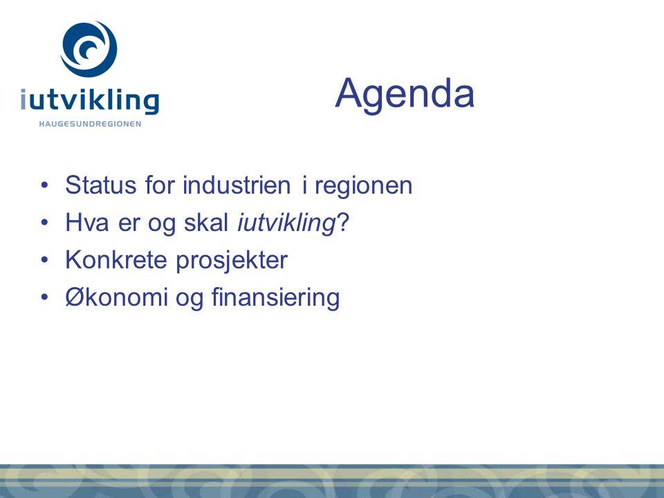 Status for industrien i regionen Hva er og skal iutvikling? Konkrete prosjekter Økonomi og finansiering Agenda