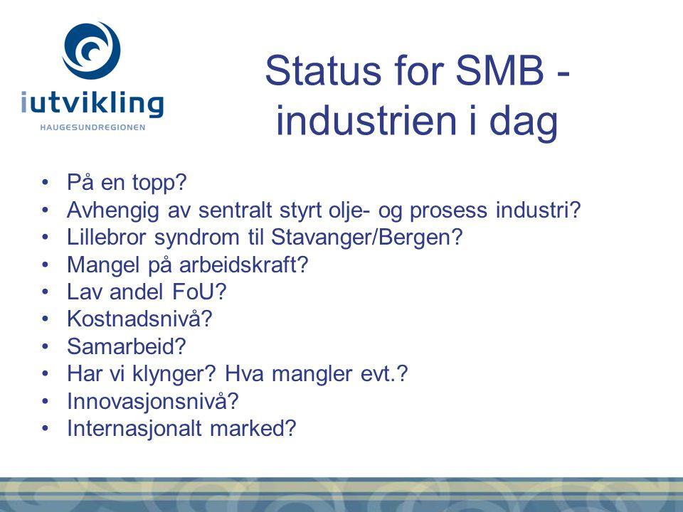 På en topp? Avhengig av sentralt styrt olje- og prosess industri? Lillebror syndrom til Stavanger/Bergen? Mangel på arbeidskraft? Lav andel FoU? Kostn