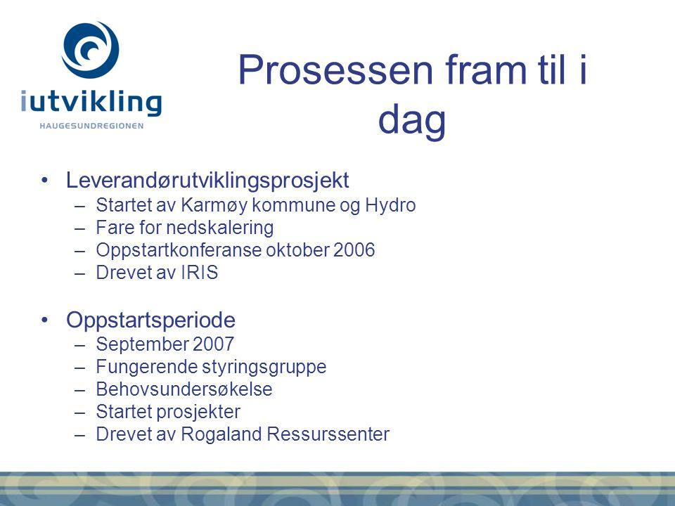 Leverandørutviklingsprosjekt –Startet av Karmøy kommune og Hydro –Fare for nedskalering –Oppstartkonferanse oktober 2006 –Drevet av IRIS Oppstartsperi