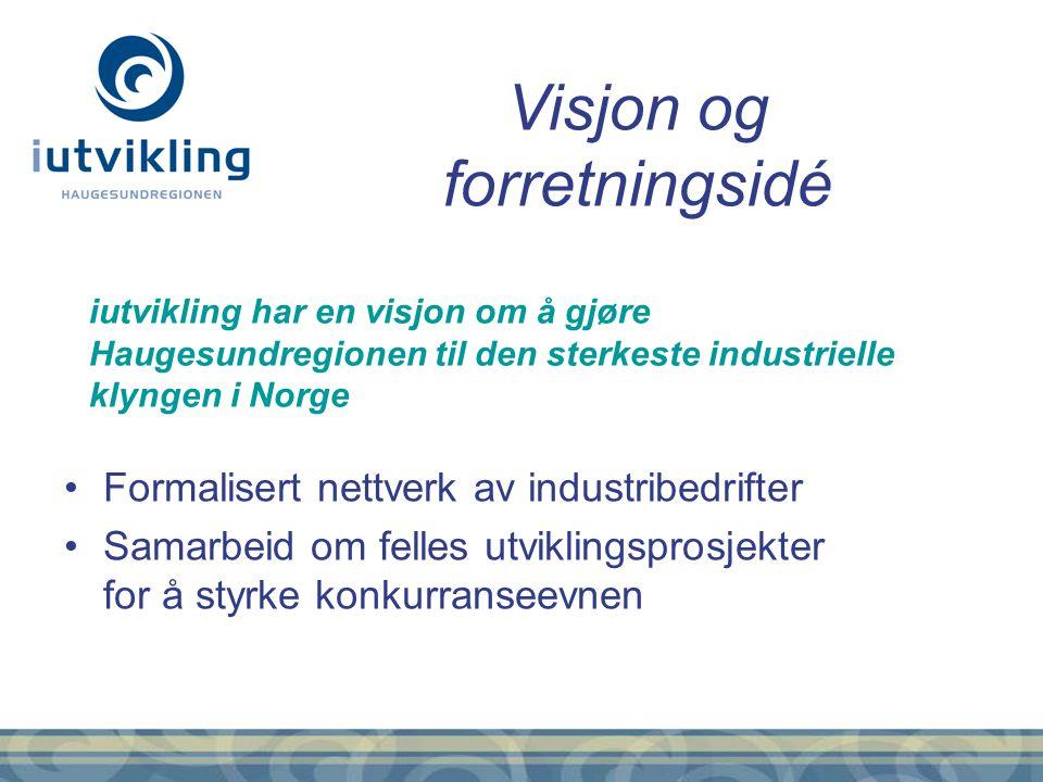 Formalisert nettverk av industribedrifter Samarbeid om felles utviklingsprosjekter for å styrke konkurranseevnen Visjon og forretningsidé iutvikling h