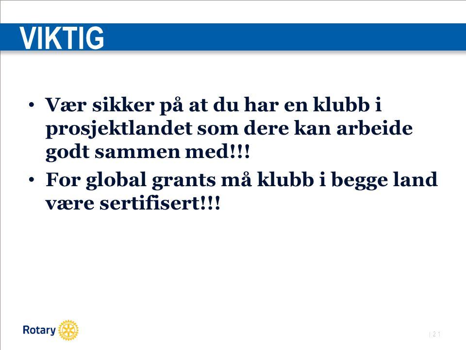 | 21 VIKTIG Vær sikker på at du har en klubb i prosjektlandet som dere kan arbeide godt sammen med!!.