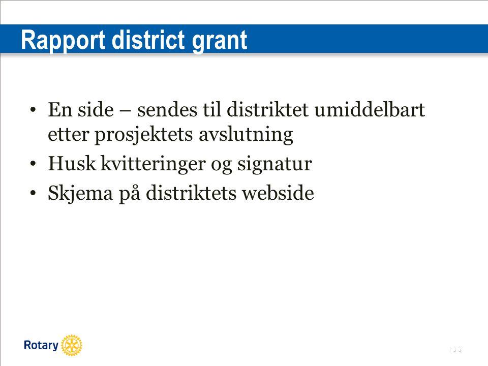 | 33 Rapport district grant En side – sendes til distriktet umiddelbart etter prosjektets avslutning Husk kvitteringer og signatur Skjema på distriktets webside
