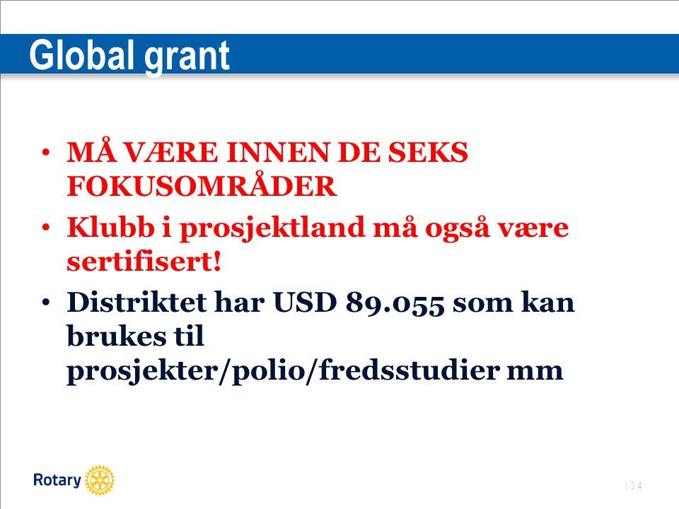 | 34 Global grant MÅ VÆRE INNEN DE SEKS FOKUSOMRÅDER Klubb i prosjektland må også være sertifisert.