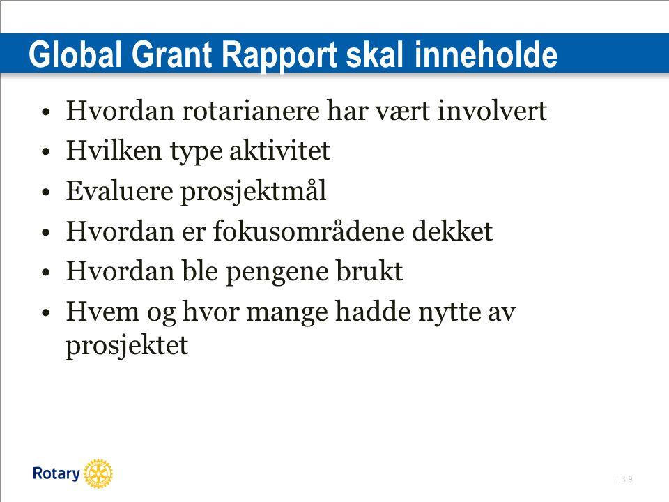 | 39 Global Grant Rapport skal inneholde Hvordan rotarianere har vært involvert Hvilken type aktivitet Evaluere prosjektmål Hvordan er fokusområdene dekket Hvordan ble pengene brukt Hvem og hvor mange hadde nytte av prosjektet