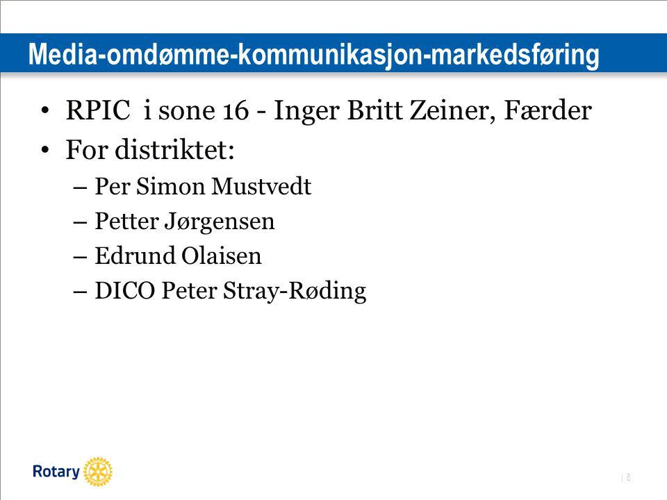 | 8 Media-omdømme-kommunikasjon-markedsføring RPIC i sone 16 - Inger Britt Zeiner, Færder For distriktet: – Per Simon Mustvedt – Petter Jørgensen – Edrund Olaisen – DICO Peter Stray-Røding