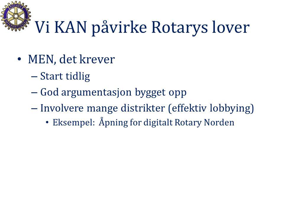 Vi KAN påvirke Rotarys lover MEN, det krever – Start tidlig – God argumentasjon bygget opp – Involvere mange distrikter (effektiv lobbying) Eksempel: