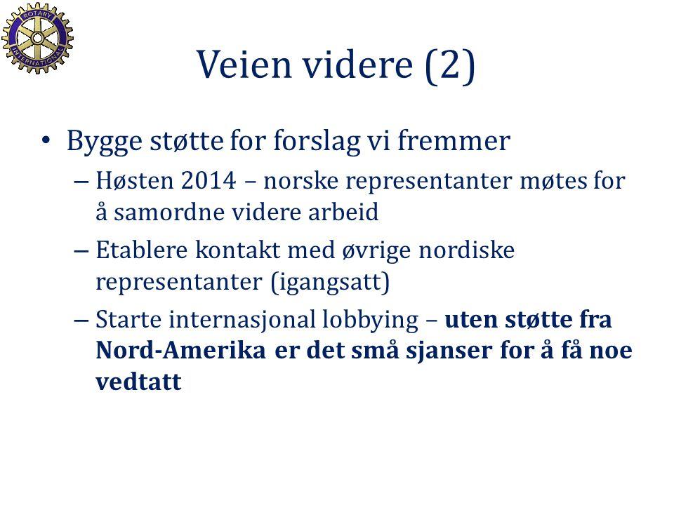 Veien videre (2) Bygge støtte for forslag vi fremmer – Høsten 2014 – norske representanter møtes for å samordne videre arbeid – Etablere kontakt med ø