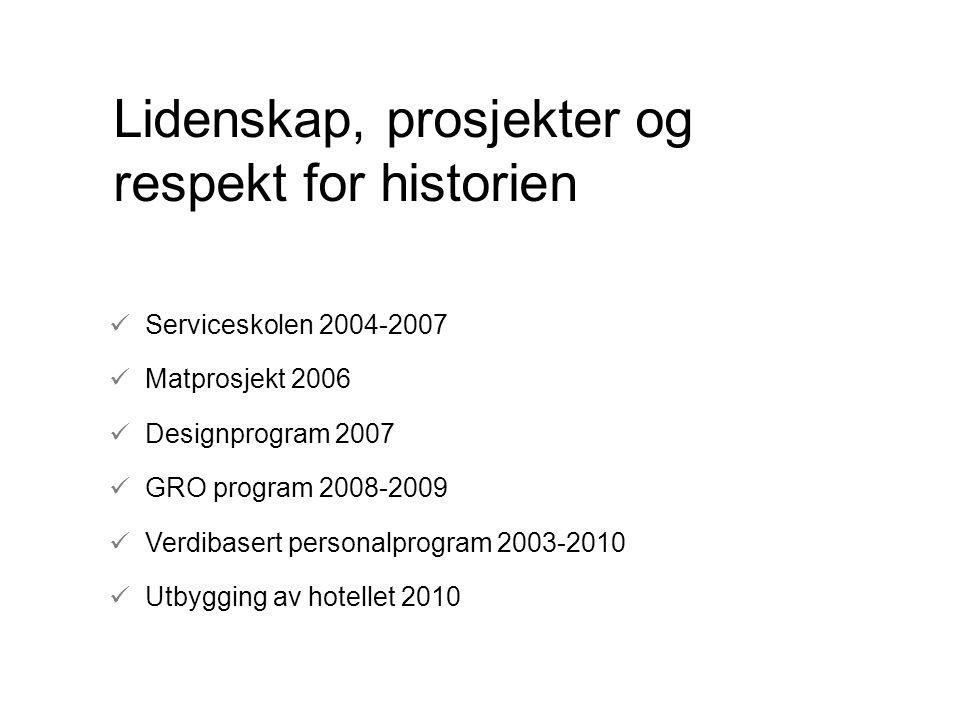 Lidenskap, prosjekter og respekt for historien Serviceskolen 2004-2007 Matprosjekt 2006 Designprogram 2007 GRO program 2008-2009 Verdibasert personalp