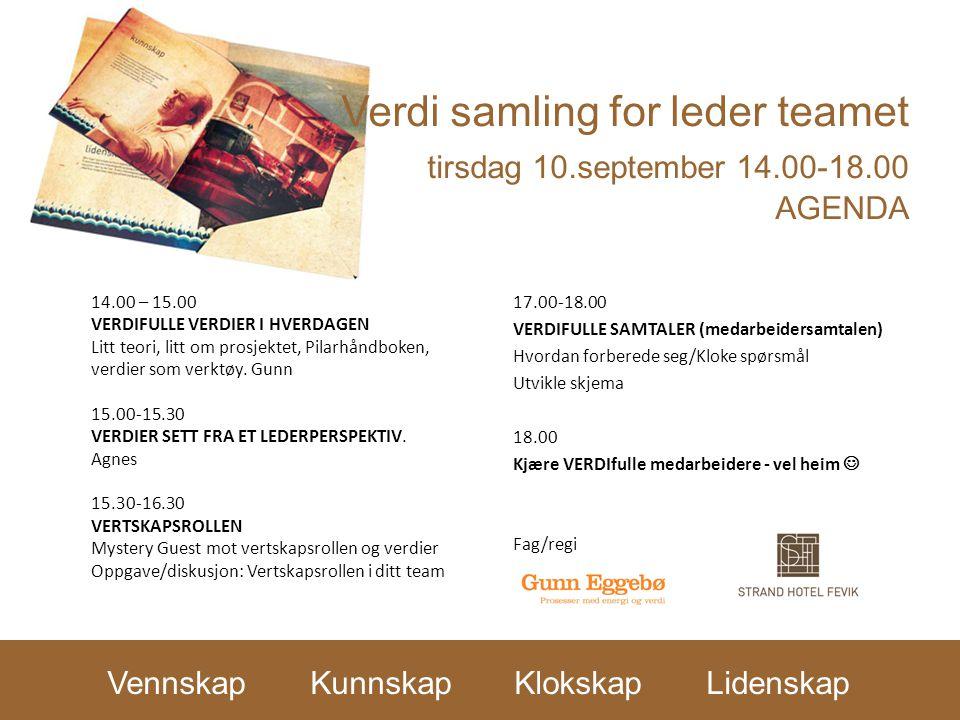 Verdi samling for leder teamet tirsdag 10.september 14.00-18.00 AGENDA 17.00-18.00 VERDIFULLE SAMTALER (medarbeidersamtalen) Hvordan forberede seg/Klo