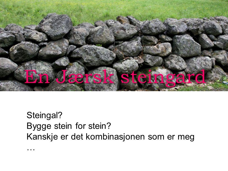 En Jærsk steingard Steingal? Bygge stein for stein? Kanskje er det kombinasjonen som er meg …