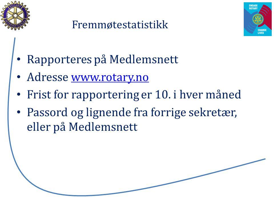 Fremmøtestatistikk Rapporteres på Medlemsnett Adresse www.rotary.nowww.rotary.no Frist for rapportering er 10. i hver måned Passord og lignende fra fo