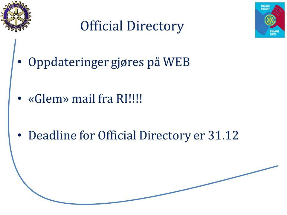 Official Directory Oppdateringer gjøres på WEB «Glem» mail fra RI!!!! Deadline for Official Directory er 31.12