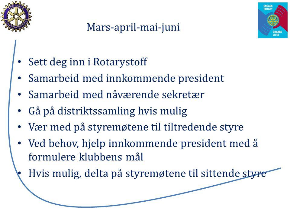Mars-april-mai-juni Sett deg inn i Rotarystoff Samarbeid med innkommende president Samarbeid med nåværende sekretær Gå på distriktssamling hvis mulig
