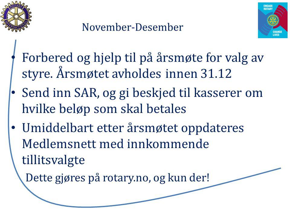 November-Desember Forbered og hjelp til på årsmøte for valg av styre. Årsmøtet avholdes innen 31.12 Send inn SAR, og gi beskjed til kasserer om hvilke