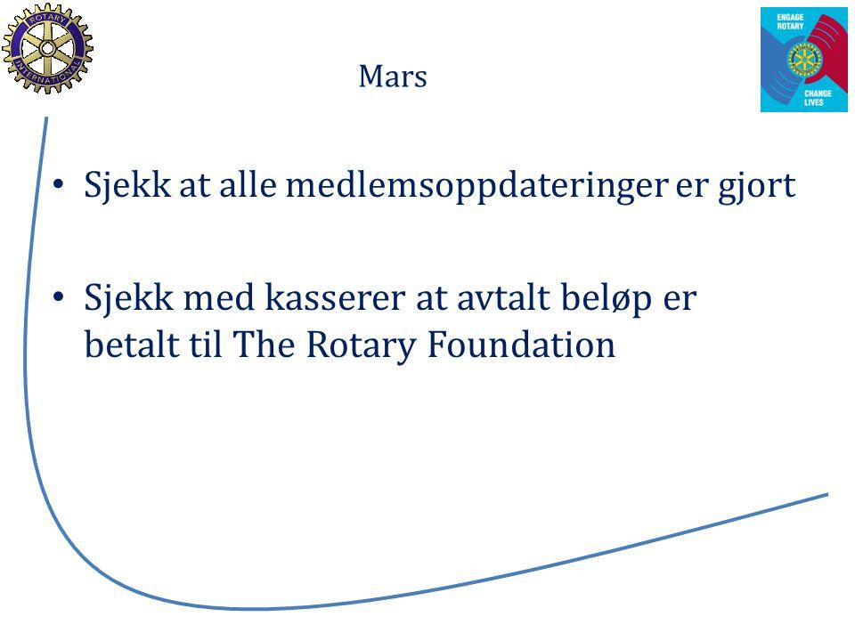Mars Sjekk at alle medlemsoppdateringer er gjort Sjekk med kasserer at avtalt beløp er betalt til The Rotary Foundation