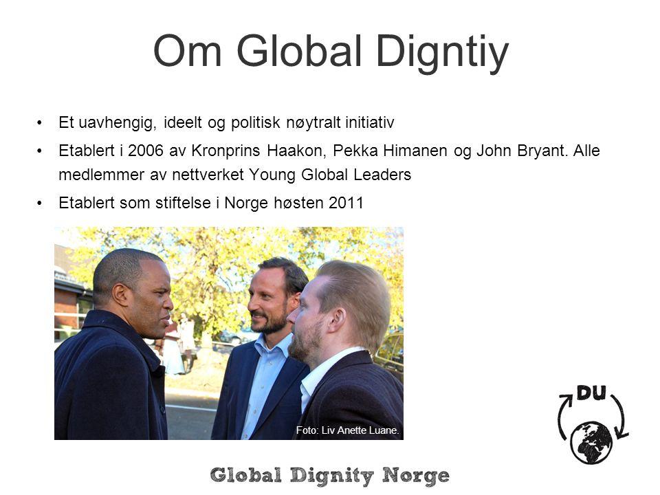 Om Global Digntiy Et uavhengig, ideelt og politisk nøytralt initiativ Etablert i 2006 av Kronprins Haakon, Pekka Himanen og John Bryant.