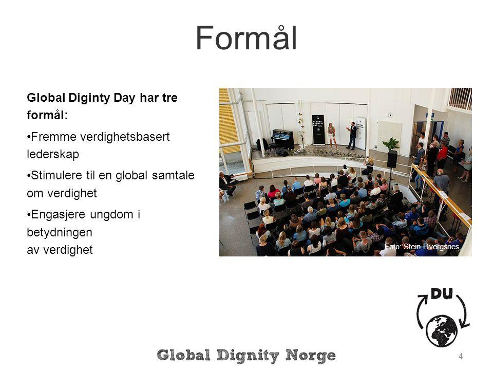 Global Diginty Day har tre formål: Fremme verdighetsbasert lederskap Stimulere til en global samtale om verdighet Engasjere ungdom i betydningen av verdighet 4 Formål Foto: Stein Dvergsnes