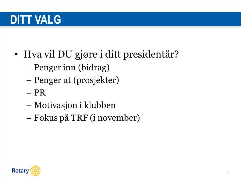 | 5 DITT VALG Hva vil DU gjøre i ditt presidentår.