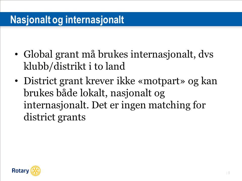 | 8 Nasjonalt og internasjonalt Global grant må brukes internasjonalt, dvs klubb/distrikt i to land District grant krever ikke «motpart» og kan brukes både lokalt, nasjonalt og internasjonalt.
