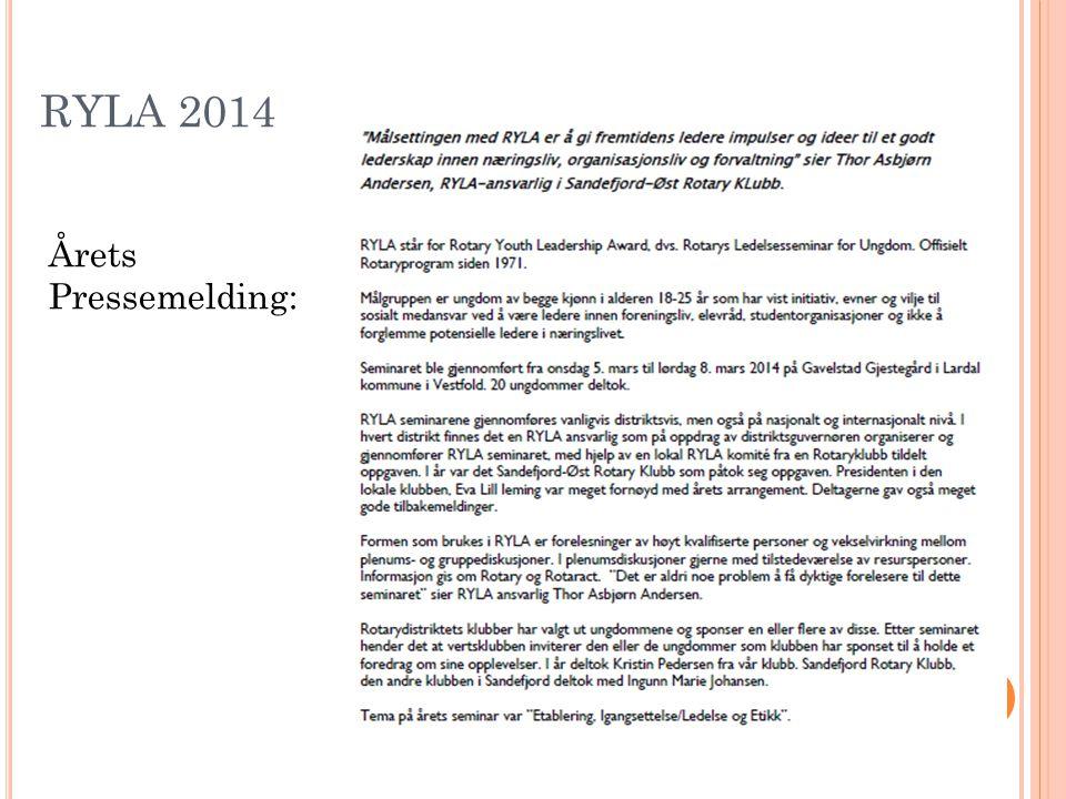 RYLA 2014 Årets Pressemelding: