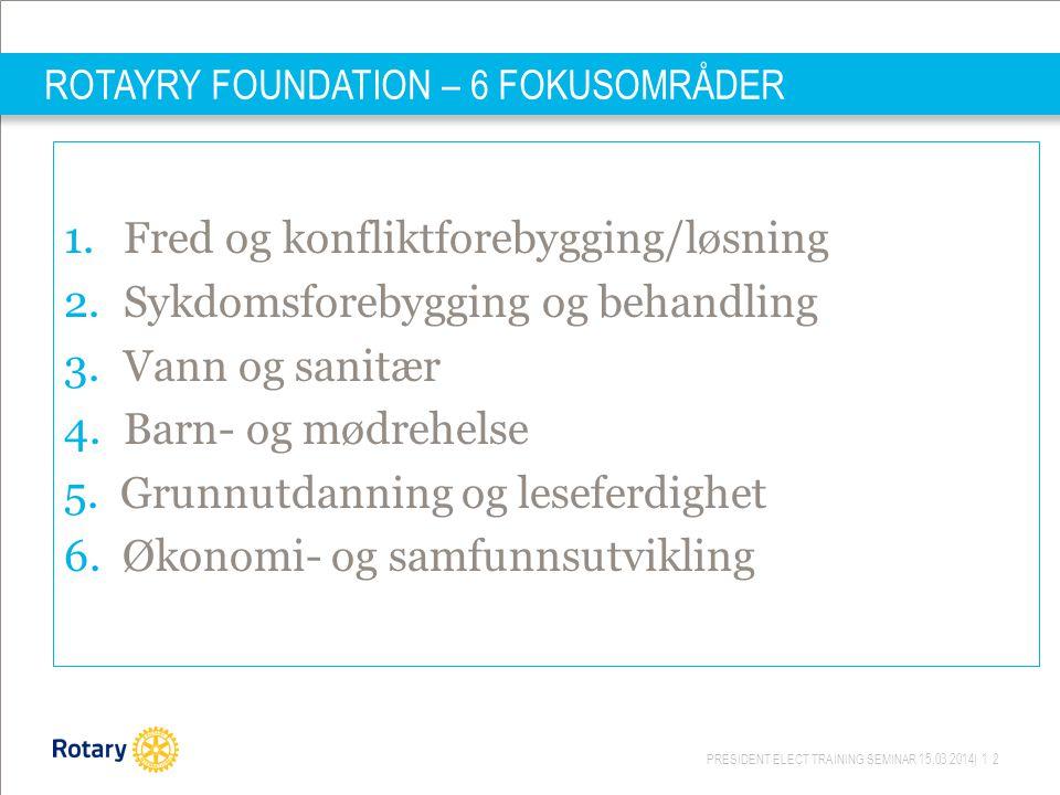 PRESIDENT ELECT TRAINING SEMINAR 15.03.2014| 12 ROTAYRY FOUNDATION – 6 FOKUSOMRÅDER 1.Fred og konfliktforebygging/løsning 2.Sykdomsforebygging og behandling 3.Vann og sanitær 4.Barn- og mødrehelse 5.