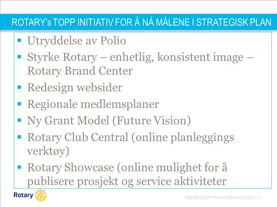 PRESIDENT ELECT TRAINING SEMINAR 15.03.2014| 13 ROTARY's TOPP INITIATIV FOR Å NÅ MÅLENE I STRATEGISK PLAN  Utryddelse av Polio  Styrke Rotary – enhetlig, konsistent image – Rotary Brand Center  Redesign websider  Regionale medlemsplaner  Ny Grant Model (Future Vision)  Rotary Club Central (online planleggings verktøy)  Rotary Showcase (online mulighet for å publisere prosjekt og service aktiviteter