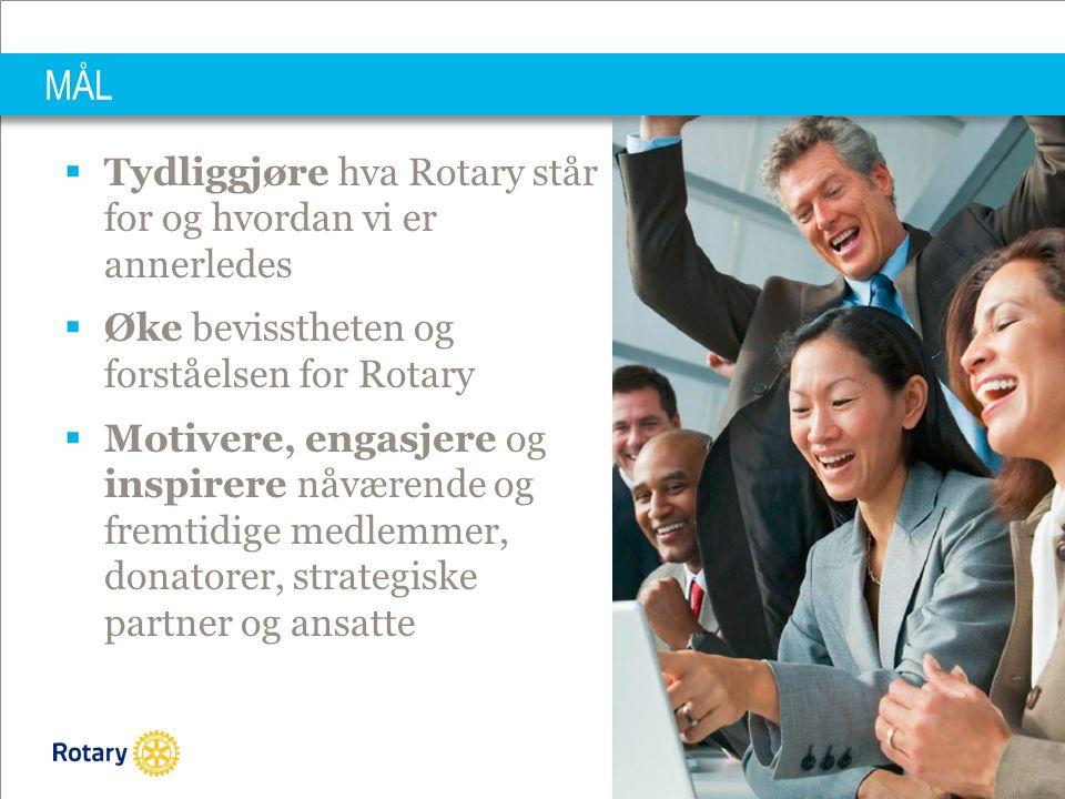 PRESIDENT ELECT TRAINING SEMINAR 15.03.2014| 21 MÅL  Tydliggjøre hva Rotary står for og hvordan vi er annerledes  Øke bevisstheten og forståelsen for Rotary  Motivere, engasjere og inspirere nåværende og fremtidige medlemmer, donatorer, strategiske partner og ansatte