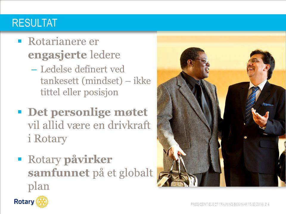 PRESIDENT ELECT TRAINING SEMINAR 15.03.2014| 24 RESULTAT  Rotarianere er engasjerte ledere – Ledelse definert ved tankesett (mindset) – ikke tittel eller posisjon  Det personlige møtet vil allid være en drivkraft i Rotary  Rotary påvirker samfunnet på et globalt plan