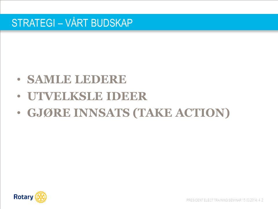 PRESIDENT ELECT TRAINING SEMINAR 15.03.2014| 42 STRATEGI – VÅRT BUDSKAP SAMLE LEDERE UTVELKSLE IDEER GJØRE INNSATS (TAKE ACTION)