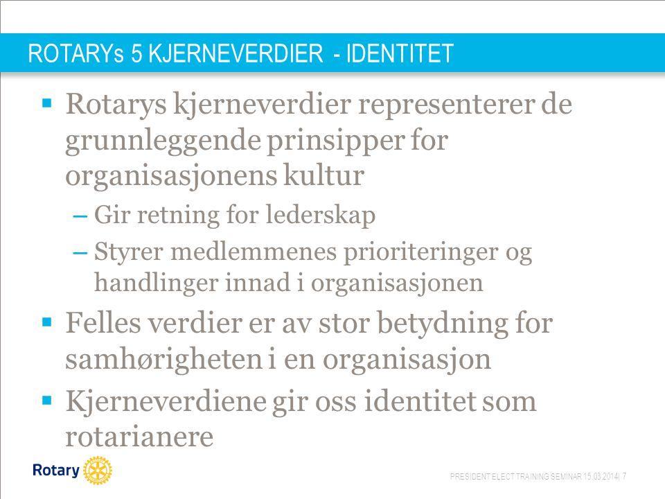 PRESIDENT ELECT TRAINING SEMINAR 15.03.2014| 7 ROTARYs 5 KJERNEVERDIER - IDENTITET  Rotarys kjerneverdier representerer de grunnleggende prinsipper f