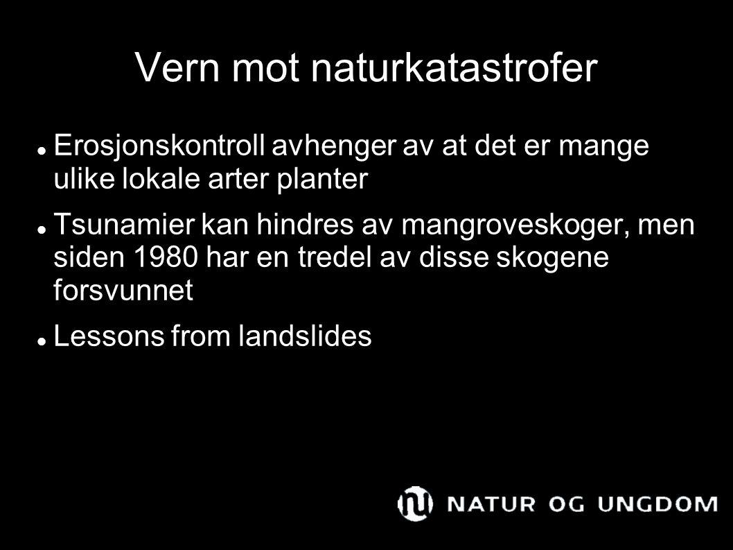 Vern mot naturkatastrofer Erosjonskontroll avhenger av at det er mange ulike lokale arter planter Tsunamier kan hindres av mangroveskoger, men siden 1