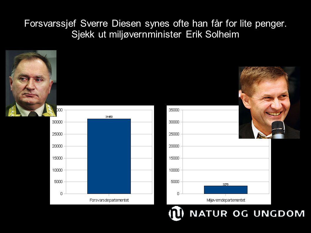 Forsvarssjef Sverre Diesen synes ofte han får for lite penger. Sjekk ut miljøvernminister Erik Solheim