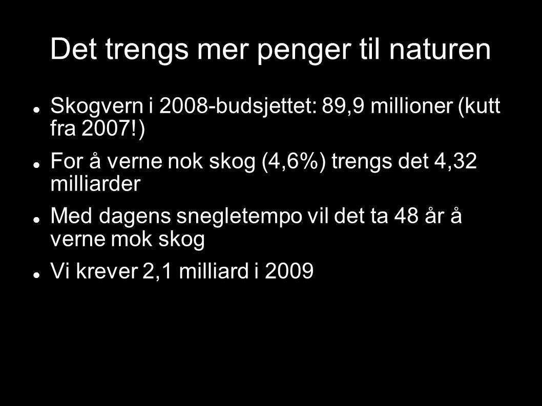 Det trengs mer penger til naturen Skogvern i 2008-budsjettet: 89,9 millioner (kutt fra 2007!) For å verne nok skog (4,6%) trengs det 4,32 milliarder