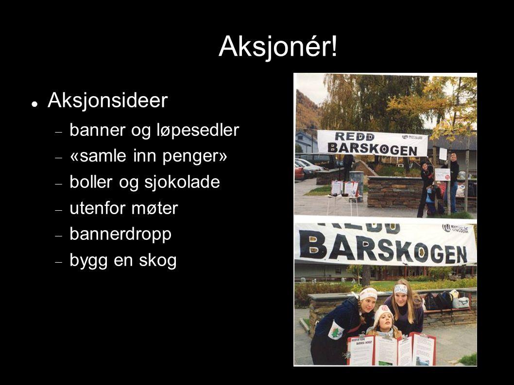 Aksjonér! Aksjonsideer  banner og løpesedler  «samle inn penger»  boller og sjokolade  utenfor møter  bannerdropp  bygg en skog