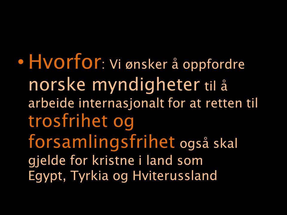 Hvorfor : Vi ønsker å oppfordre norske myndigheter til å arbeide internasjonalt for at retten til trosfrihet og forsamlingsfrihet også skal gjelde for kristne i land som Egypt, Tyrkia og Hviterussland