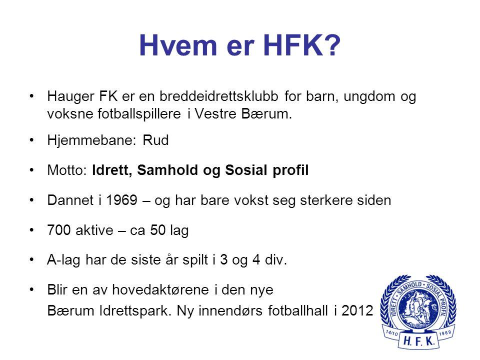 Hvem er HFK? Hauger FK er en breddeidrettsklubb for barn, ungdom og voksne fotballspillere i Vestre Bærum. Hjemmebane: Rud Motto: Idrett, Samhold og S
