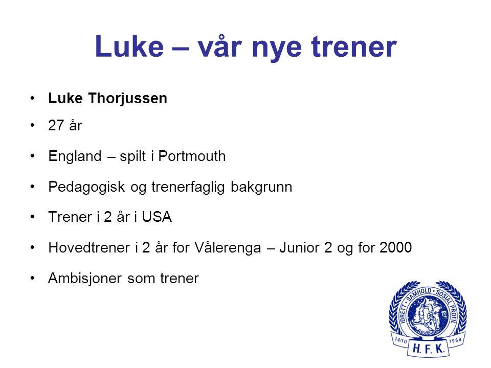 Luke – vår nye trener Luke Thorjussen 27 år England – spilt i Portmouth Pedagogisk og trenerfaglig bakgrunn Trener i 2 år i USA Hovedtrener i 2 år for