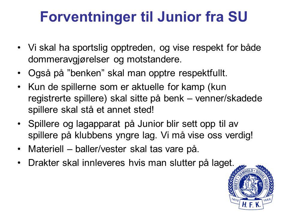 """Forventninger til Junior fra SU Vi skal ha sportslig opptreden, og vise respekt for både dommeravgjørelser og motstandere. Også på """"benken"""" skal man o"""
