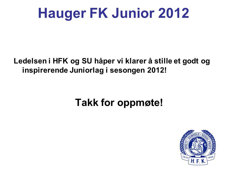 Hauger FK Junior 2012 Ledelsen i HFK og SU håper vi klarer å stille et godt og inspirerende Juniorlag i sesongen 2012! Takk for oppmøte!