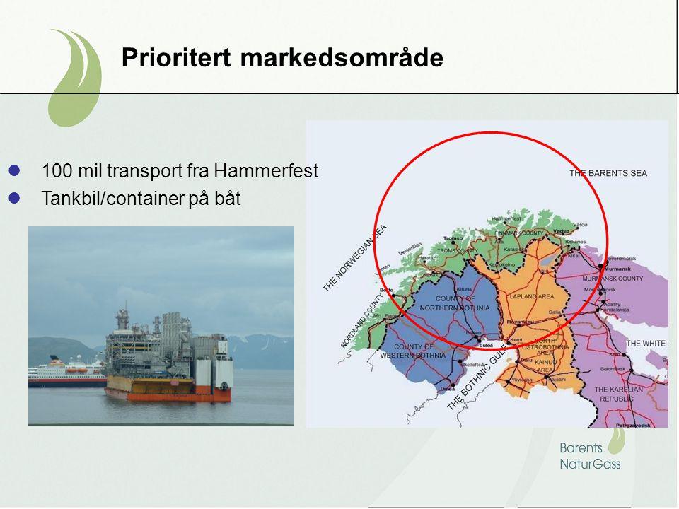 Prioritert markedsområde 100 mil transport fra Hammerfest Tankbil/container på båt