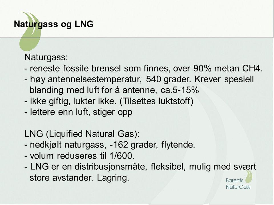 Naturgass og LNG Naturgass: - reneste fossile brensel som finnes, over 90% metan CH4. - høy antennelsestemperatur, 540 grader. Krever spesiell blandin