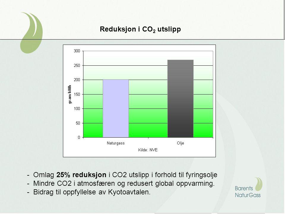 Reduksjon i CO 2 utslipp - Omlag 25% reduksjon i CO2 utslipp i forhold til fyringsolje - Mindre CO2 i atmosfæren og redusert global oppvarming.