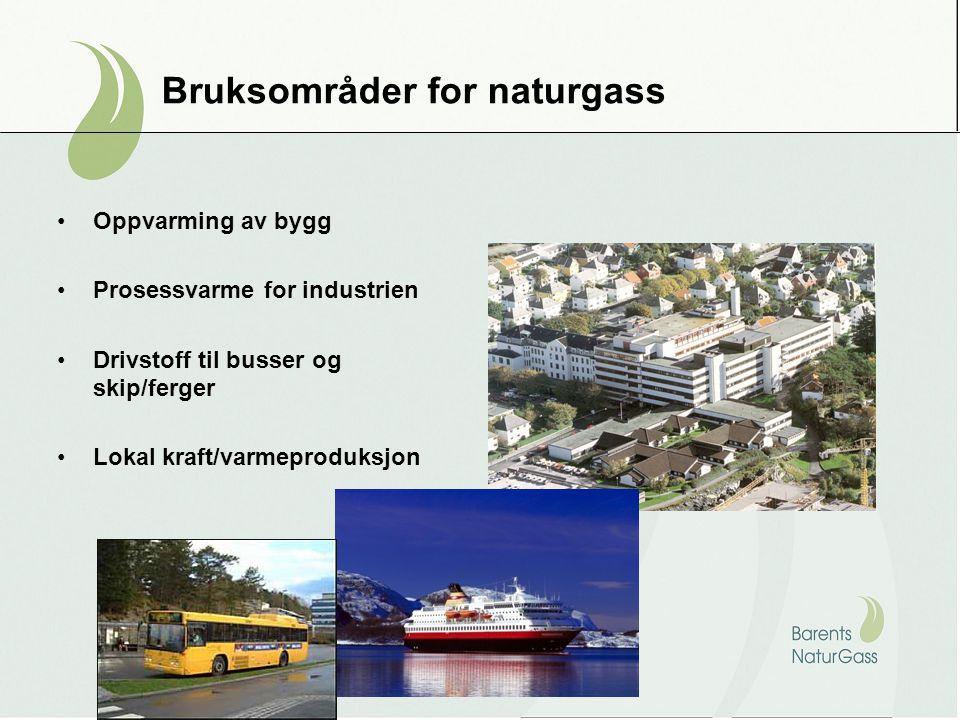 Bruksområder for naturgass Oppvarming av bygg Prosessvarme for industrien Drivstoff til busser og skip/ferger Lokal kraft/varmeproduksjon