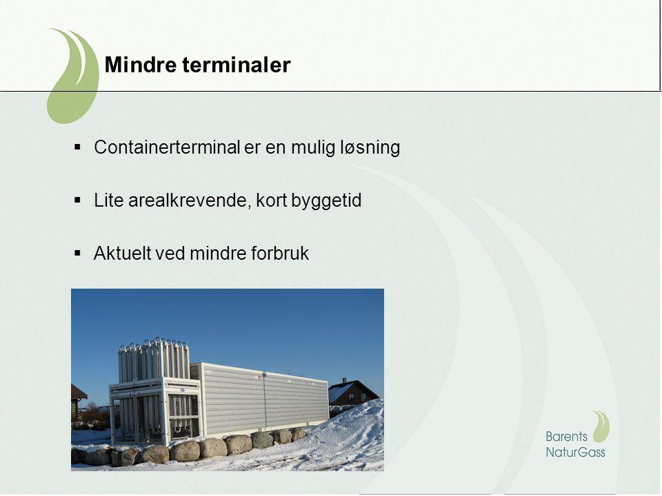 Mindre terminaler  Containerterminal er en mulig løsning  Lite arealkrevende, kort byggetid  Aktuelt ved mindre forbruk